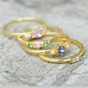 Four Gold Filled Stackable Rings w/ Crystals